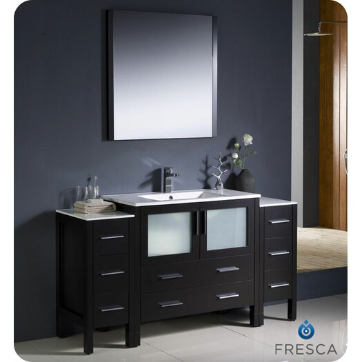 "Fresca Torino 60"" Single Modern Bathroom Vanity Set with Mirror"