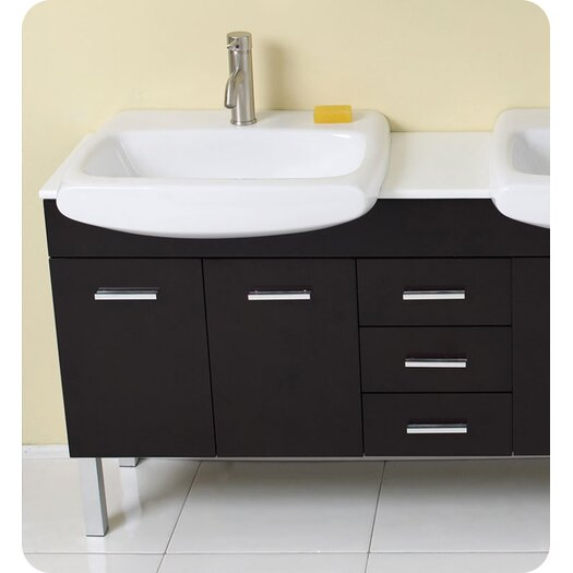 "Fresca Stella 59"" Vetta Modern Double Sink Bathroom Vanity Set with Mirror"