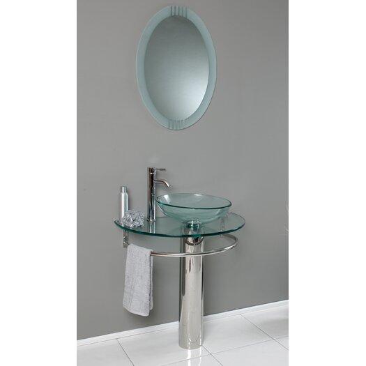 "Fresca Vetro 30"" Single Attrazione Modern Bathroom Vanity Set with Mirror"