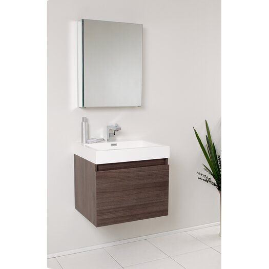 "Fresca Senza 23.5"" Nano Modern Bathroom Vanity Set with Medicine Cabinet"