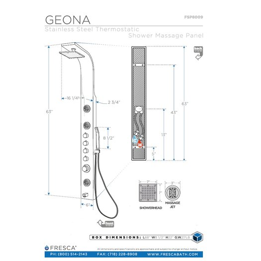 Fresca Geona Thermostatic Shower Panel