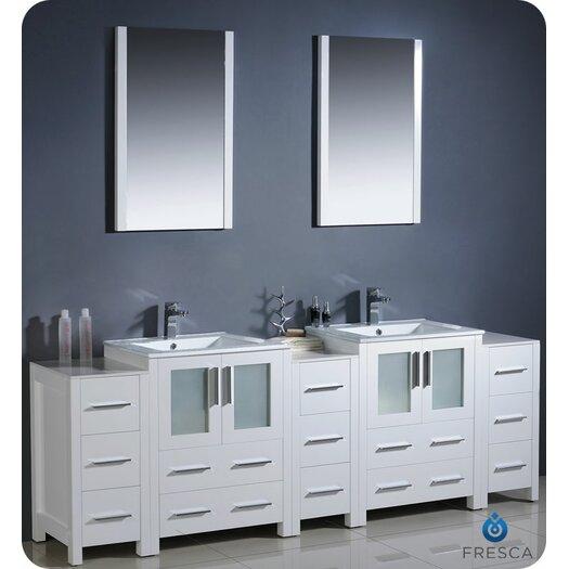 "Fresca Bari Torino 84"" Modern Double Sink Bathroom Vanity Set"