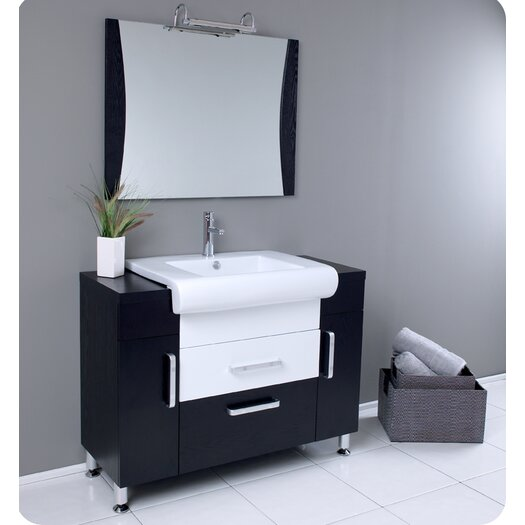 "Fresca Nero 44"" Single Vita Modern Bathroom Vanity Set with Mirror"