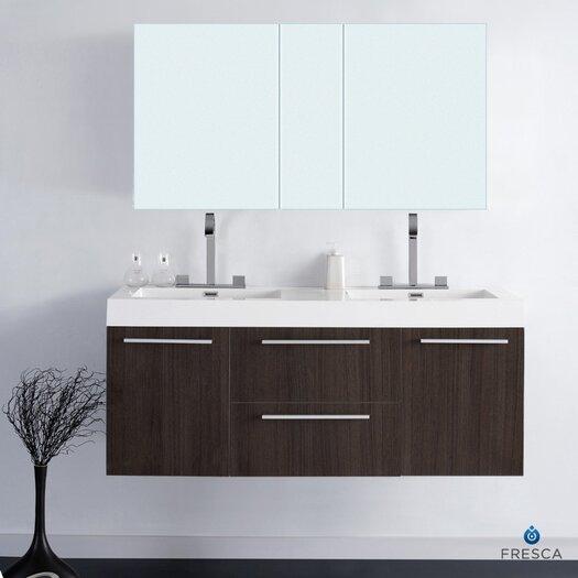 "Fresca Senza 54"" Double Opulento Modern Bathroom Vanity Set"
