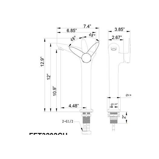 Fresca Platinum Rienza Single Handle Deck Mount Vessel Faucet