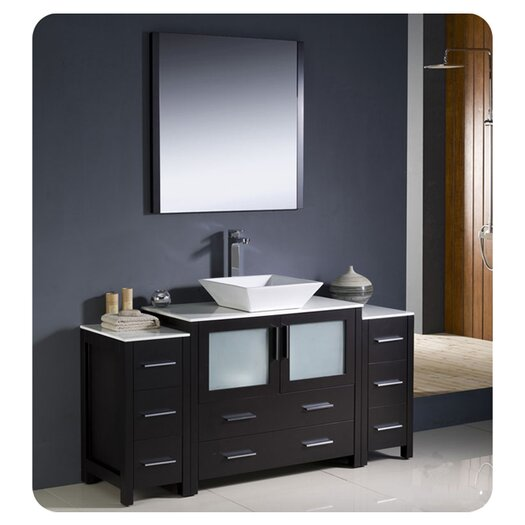"Fresca Torino 60"" Modern Bathroom Vanity Set with 2 Side Cabinets and Vessel Sink"