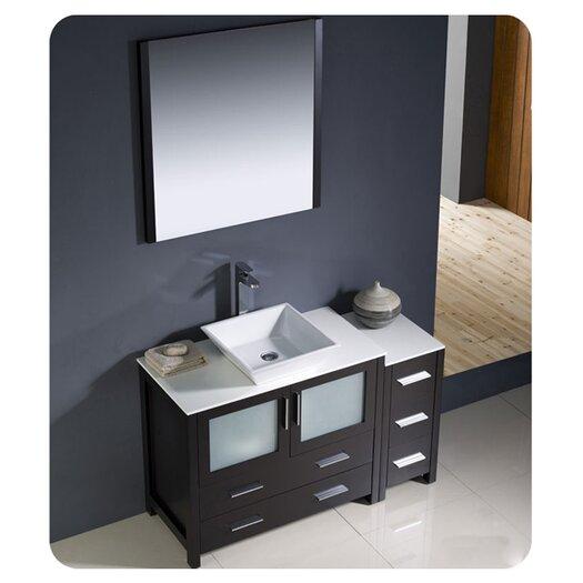 "Fresca Torino 48"" Modern Bathroom Vanity Set with Side Cabinet and Vessel Sink"