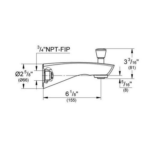 Grohe Arden Wall Mount Tub Spout Trim