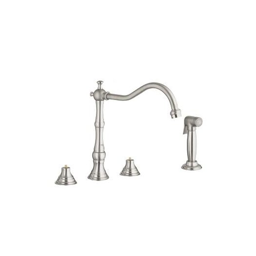 Grohe Bridgeford Two Handle Widespread Kitchen Faucet with Side Spray Less Handles