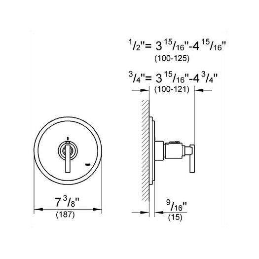 Grohe Atrio Thermostatic Trim with Lever Handle