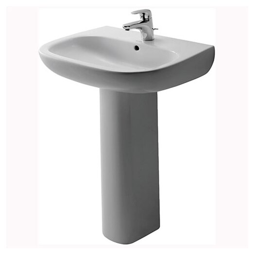Duravit D-Code Pedestal Bathroom Sink Set with Overflow