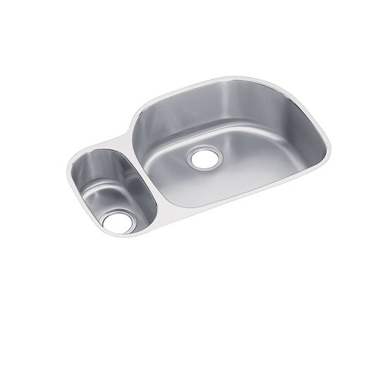 "Elkay Lustertone 31.5"" x 21.13"" x 7.5"" Double Bowl Undermount Kitchen Sink with Reveal Rim"