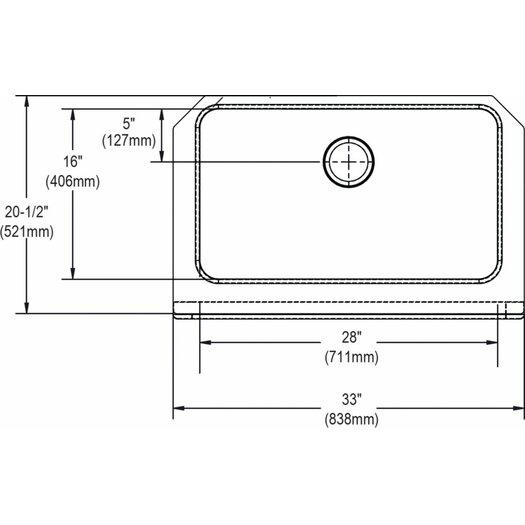"Elkay 33"" x 20.5"" Undermount Single Bowl Kitchen Sink with Apron"