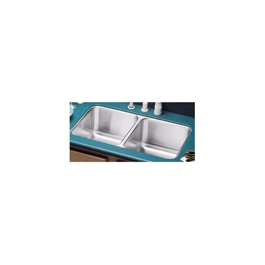 "Elkay 31.75"" x 16.5"" Double Bowl Undermount Kitchen Sink with Reveal Rim"