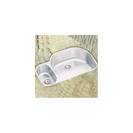 "Elkay 31.5"" x 21.13"" x 10"" Double Bowl Undermount Kitchen Sink with Reveal Rim"