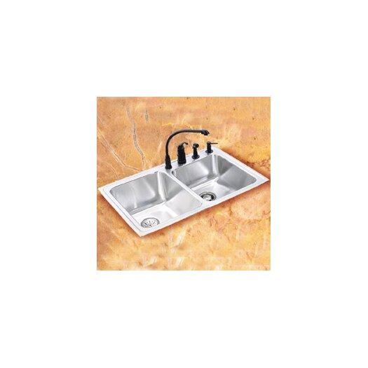 "Elkay Lustertone 33"" x 22"" Self Rimming Double Bowl Kitchen Sink"