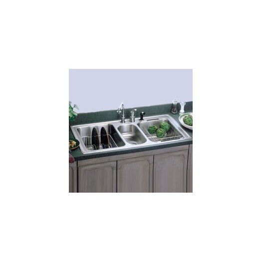 "Elkay Gourmet 43"" x 22"" Self Rimming 3-Hole Triple Bowl Kitchen Sink with Faucet"