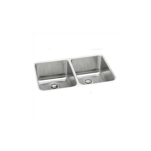 "Elkay Lustertone 35.75"" x 18.5"" Deep Double Bowl Kitchen Sink"