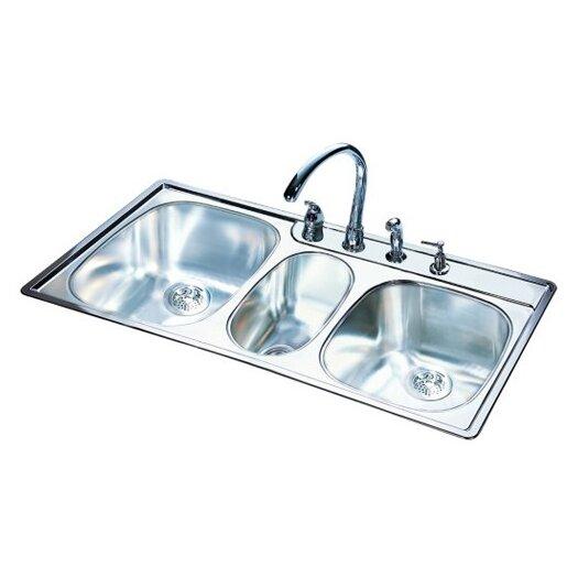 "FrankeUSA 43"" x 22"" 18 Gauge Triple Bowl Kitchen Sink"