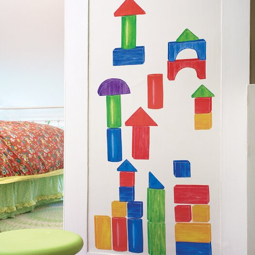 Wooden Blocks Interactive Vinyl Peel and Stick Wall Play Decal