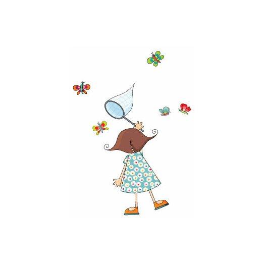 ADZif Ludo Little Girl with Butterflies Wall Decal