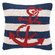 Peking Handicraft Nautical Hook Anchor Stripe Pillow