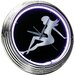 "Lady Silhouette 14.75"" Neon Wall Clock"
