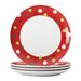 "<strong>Rachael Ray</strong> Hoot's Decorated Tree 9.4"" Polka Dots Salad Plate (Set of 4)"