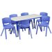 <strong>Flash Furniture</strong> Adjustable Rectangular Activity Table with 6 School Stack Chairs