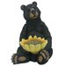 Bear Sitting with Sunflower Birdfeeder Statue