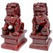 "6"" Fu Dog Statues in Deep Burgundy"