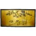 "<strong>Oriental Furniture</strong> 18"" x 36"" Gold Leaf Bamboo 4 Panel Room Divider"