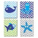 The Kids Room 4 Piece Sea Creatures with Chevron Quad Wall Plaque Set by Stupell Industries