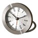 Diecast Round Travel Alarm Clock with Bold Arabic Numerals