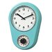 Retro Kitchen Timer Wall Clock in Turquoise