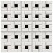 "Retro 12-1/2"" x 12-1/2"" Glazed Porcelain Spiral Mosaic in White and Black"