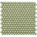 "Penny 12-1/4"" x 12"" Glazed Porcelain Mosaic in Moss Green"