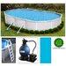 "Swim Time Oval 52"" Deep 6"" Top Rail Belize Metal Wall Swimming Pool Package"