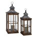 2 Piece Wood and Metal Glass Lantern Set