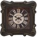 Square Metal Wall Clock with Forged Metal Frame