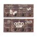 <strong>Woodland Imports</strong> 2 Piece Butterfly and Crown Themed Wall Hook Panel Set