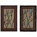 2 Piece Elegant Wooden Framed Metal Wall Décor Set