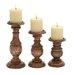 Woodland Imports 3 Piece Short Wooden Candlestick Set