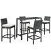 Portland 5 Piece Pub Dining Set with Cushions by Modway
