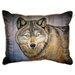 Betsy Drake Interiors Lodge Wolf Indoor / Outdoor Pillow