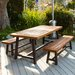 Marseille Rustic Metal 3 Piece Outdoor Dining Set