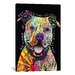 <strong>iCanvasArt</strong> 'Beware of Pit Bulls' by Dean Russo Graphic Art on Canvas