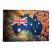 <strong>iCanvasArt</strong> 'Australia Flag Map' by Michael Tompsett Painting Print on Canvas