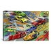 <strong>iCanvasArt</strong> Kids Children Cartoon Racing Cars Canvas Wall Art