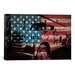 <strong>iCanvasArt</strong> Firefighters Vintage Fire Truck USA Flag Graphic Art on Canvas